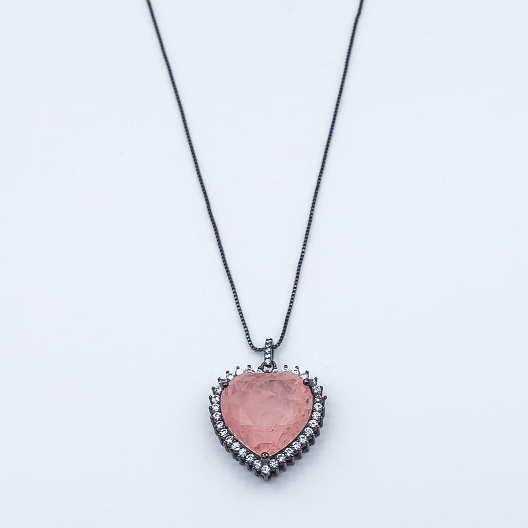 Corrente com Pingente Coração Pedra Fusion