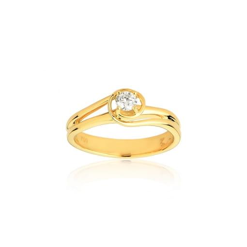 Solitário em Ouro Amarelo e 0,20 pontos de Diamantes.