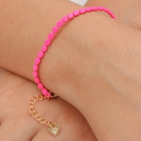 Pulseira folheada mini bolas chatas pintadas pink