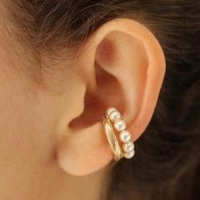 Piercing orelha folheado aro liso com pérolas