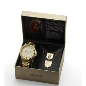 Kit relógio Seculus Masculino Santo Expedito
