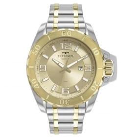 Relógio technos masculino dourado e prata