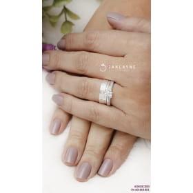 Anel prata com zircônia 01 solitário cristal
