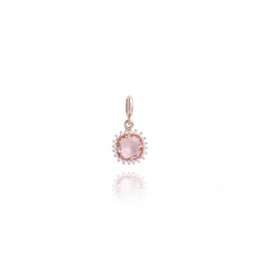 pingente prata rose pedra e borda de zirconias