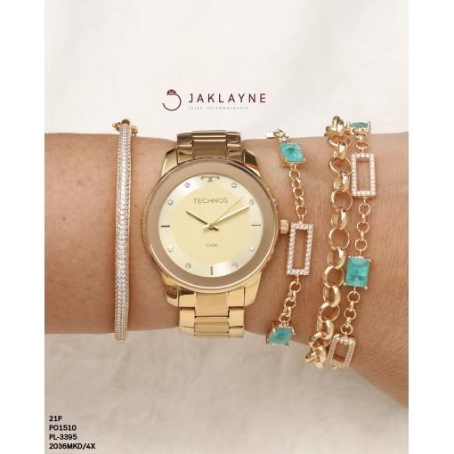 Relógio Technos Feminino Dourado com ponteiros em cristais