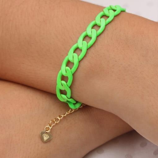 Pulseira folheada corrente grossa pintada verde neon