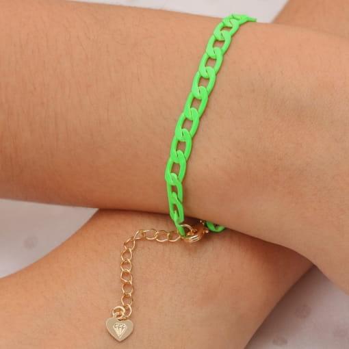 Pulseira folheada corrente pintada verde neon