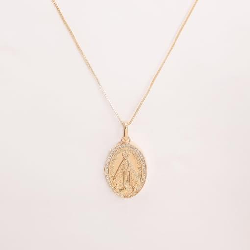 Pingente folheado relicário oval Nossa Senhora Aparecida