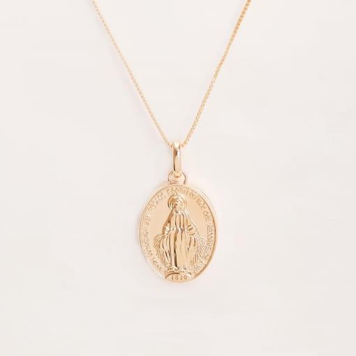 Pingente folheado relicário oval Nossa Senhora das Graças