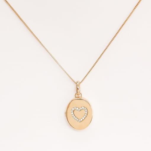 Pingente folheado relicário oval com coração zircônia