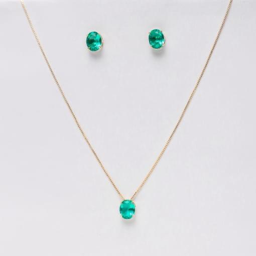 Conjunto folheado brinco/cordão pedra oval verde