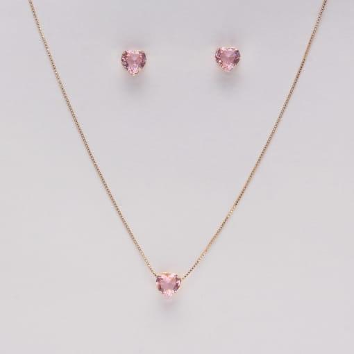 Conjunto folheado brinco e colar coração pedra rosa
