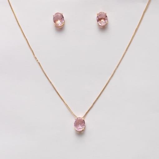 Conjunto folheado brinco e colar pedra oval rosa