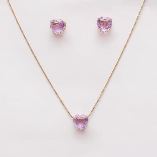Conjunto folheado brinco e colar coração pedra lilás