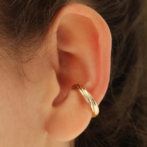 Piercing orelha folheado aro torcido