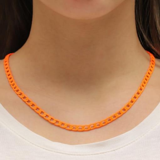 Colar folheado fio corrente pintada laranja