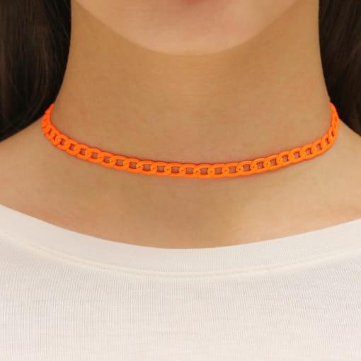Choker folheada corrente pintada laranja