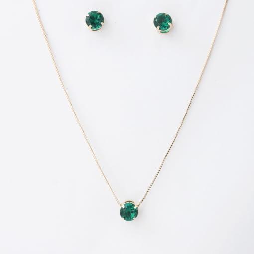 Conjunto folheado brinco e colar pedra redonda verde