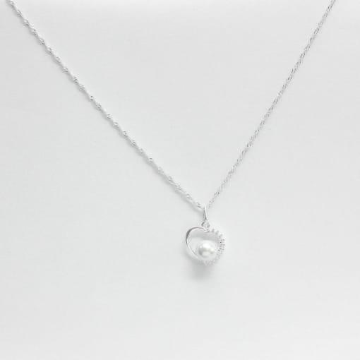 Pingente prata coração liso vazado com zircônia 01 pérola
