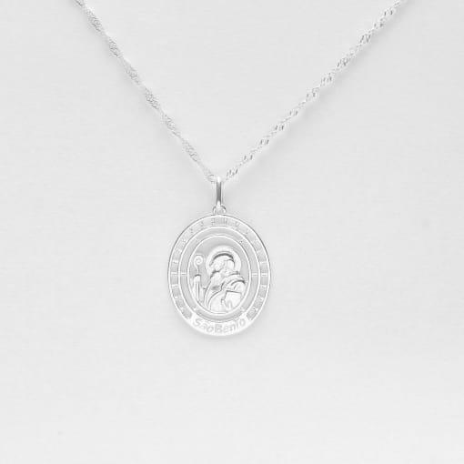 Pingente prata medalha oval São Bento