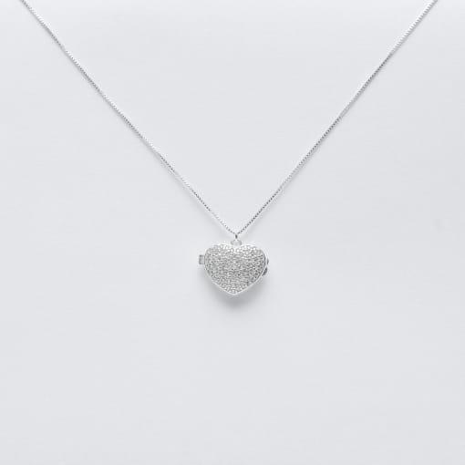 Colar prata relicário coração com zircônias