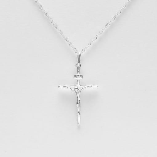 Pingente prata cruz com Cristo