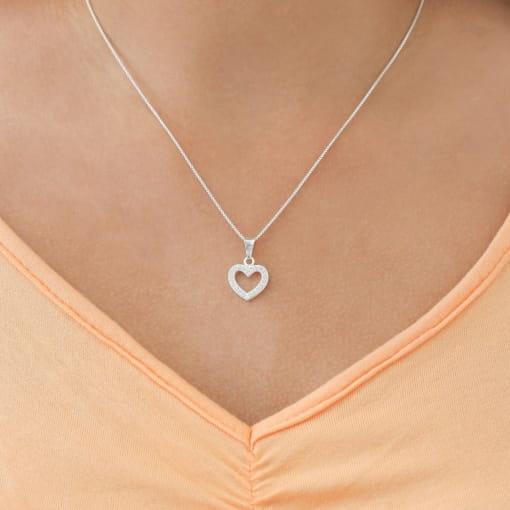 Pingente prata coração vazado com zircônia cristal