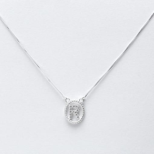 """Colar prata medalha oval letra """"R"""" com zircônias e cristal"""
