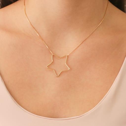Colar folheado estrela vazado fio veneziano
