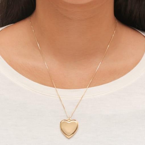Colar folheado coração com relicário liso fio veneziano