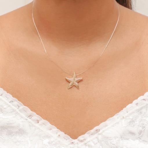 Colar folheado fio nylon com estrela do mar