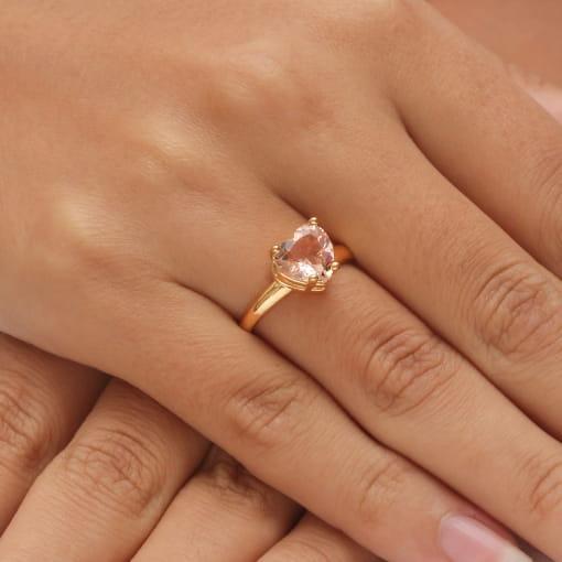Anel folheado coração pedra rosa