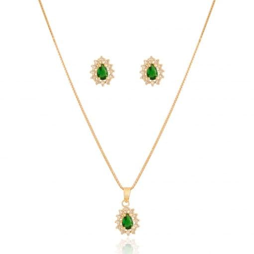 Conjunto folheado pedra esmeralda pequeno