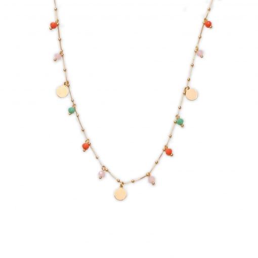 Colar folheado com bolinhas e medalhas com cristais coloridos