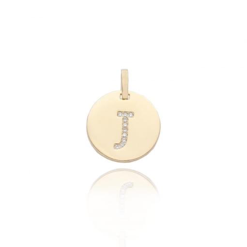 """Pingente folheado medalha com letra """"J"""" com zircônias"""