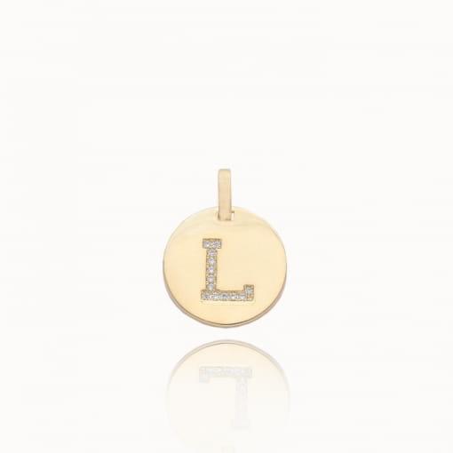 """Pingente folheado medalha com letra """"L"""" com zircônias"""