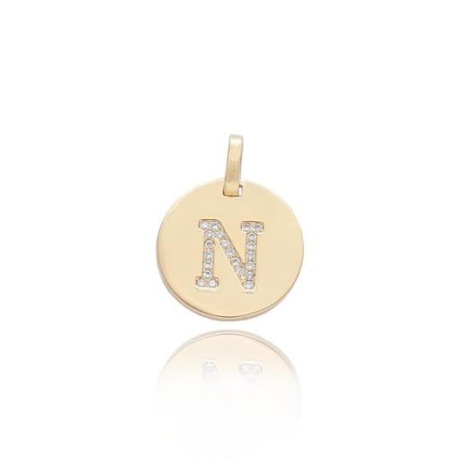 """Pingente folheado medalha com letra """"N"""" com zircônias"""