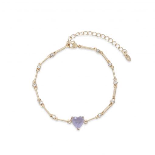 Pulseira folheada com zircônia cristal coração pedra lilás