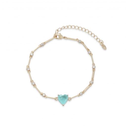 Pulseira folheada com zircônia cristal coração pedra azul claro