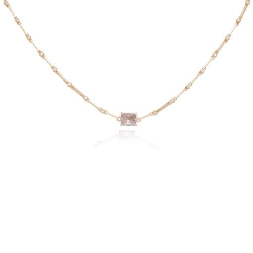 Choker folheada com zircônia cristal pedra quadrada lilás
