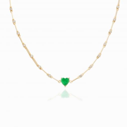 Choker folheada com zircônia cristal coração pedra verde
