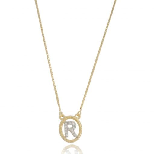 """Colar folheado medalha oval com letra """"R"""" zircônia"""