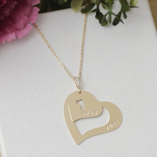 Colar folheado zircônia coração escrito Mãe e Filha