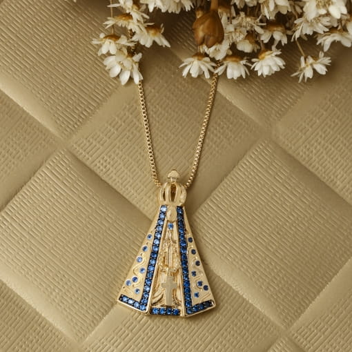 Colar folheado Nossa Senhora Aparecida com zircônia azul