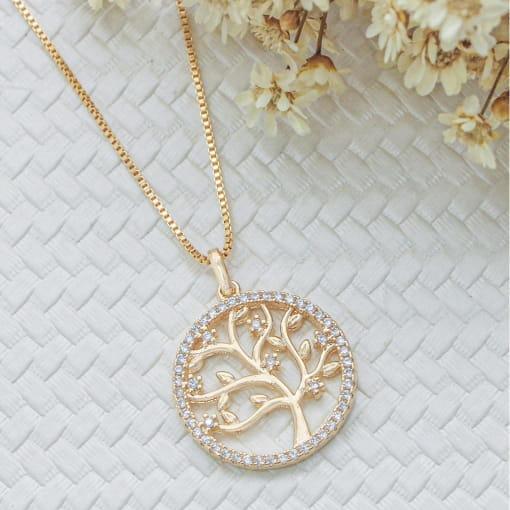 Colar folheado medalha árvore lisa com zircônia borda zircônia