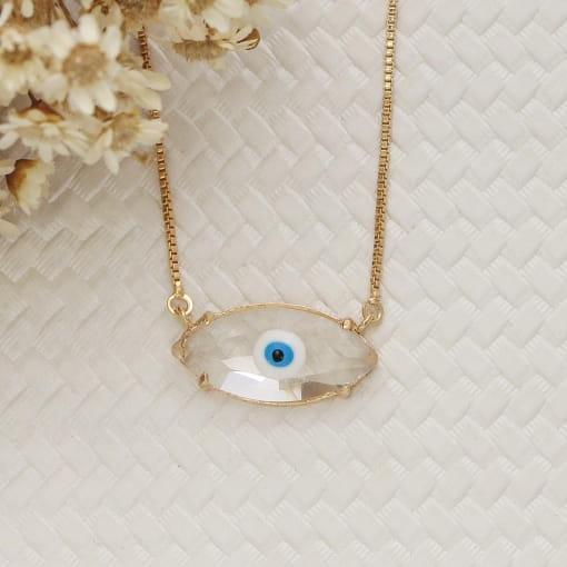 Colar folheado olho grego pedra navete cristal