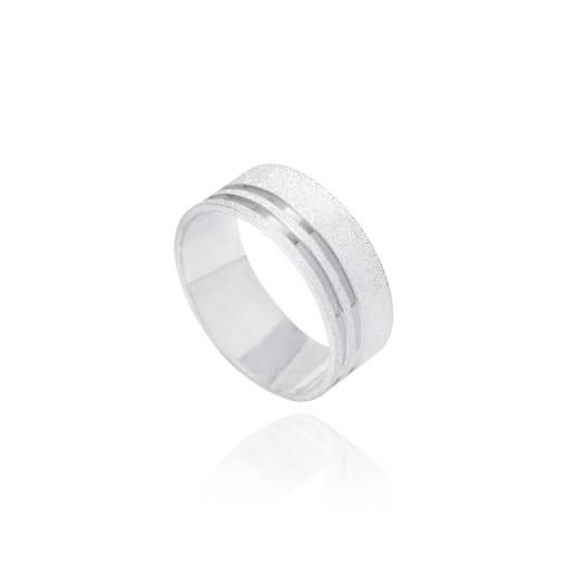 Aliança prata reta diamantada 2 canais