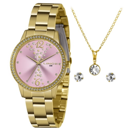 Kit Relógio Lince dourado com cordão e brinco folheado