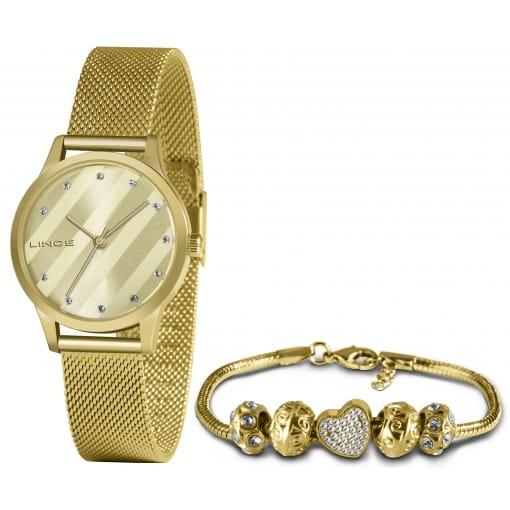 Kit relógio Lince dourado com pulseira