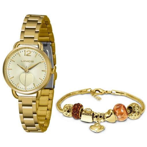 Kit Relógio Lince com pulseira folheada